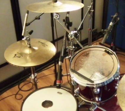 View of Hi-Hat, Snare and Tom1 microphones