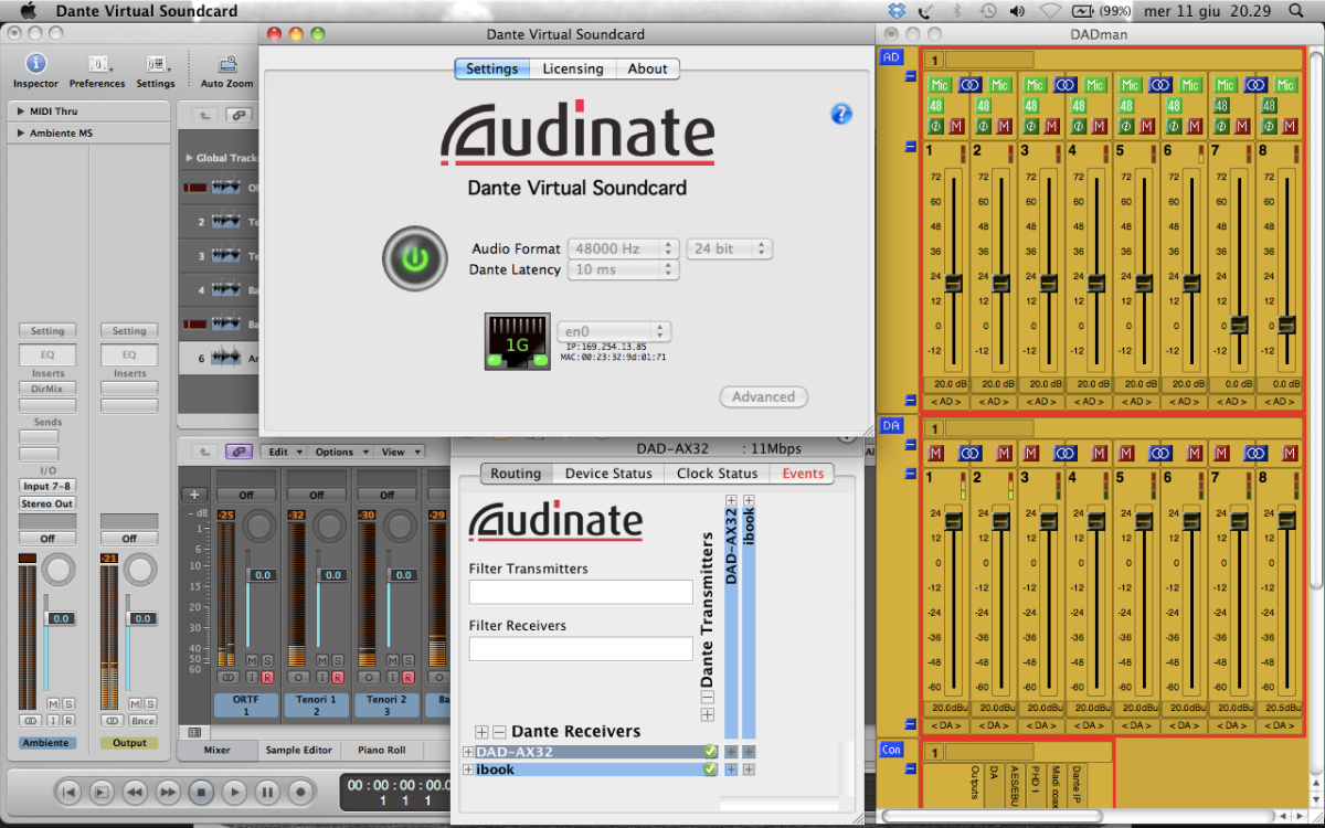 Apple Logic Pro, DADman and Dante Virtual Soundcard